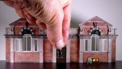 Municipal building with miniature people. Stock Footage