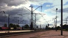 Rail transport. Freight train Stock Footage