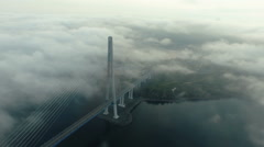 Aerial view of Bridge Russky through the Strait of Eastern Bosphorus abve the Stock Footage