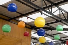 The colorful hanging ceramic lamp for decoration - stock photo