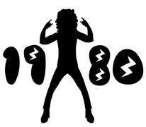 Nineteen Eighties Rock Design - stock illustration