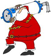 Santa carrying a water heater Stock Illustration