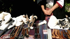 Stall bagpipes made by old technology. Stock Footage