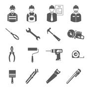 Construction workers tools black icons set - stock illustration
