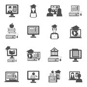 E-learning Icons Set - stock illustration