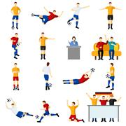 Soccer game people flat icons set Piirros