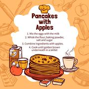Sketch Of Apple Pancakes Recipe - stock illustration