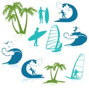 Surfing Icons With People - stock illustration