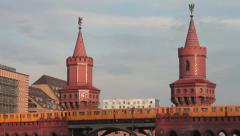 Yellow subway train passes on oberbaum bridge berlin  Stock Footage