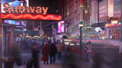 Stock Video Footage of NYC 42nd Street at Night - EDITORIAL