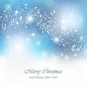 Christmas greeting card with snowfall, flakes and glowing effect - stock illustration