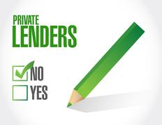 no private lenders approval sign concept - stock illustration