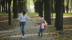 Family values: Mother and child walking in autumn park Stock Footage