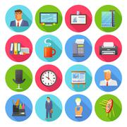Office Icons Flat Set Stock Illustration