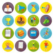 Coaching Sport Icons Flat Stock Illustration