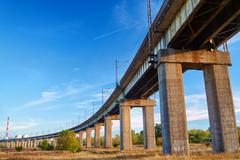 The railroad overpass near Poznan. - stock photo