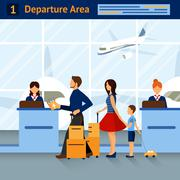 Scene In Airport Departure Area - stock illustration