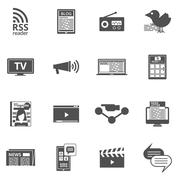 Mass media black icons set Stock Illustration