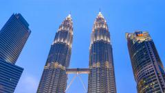 Petronas Twin Towers Time apse, Kuala Lumpur, Malaysia, HD Time lapse Stock Footage