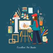 Artist Studio Concept Stock Illustration