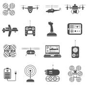 Stock Illustration of Drones Black White Icons Set