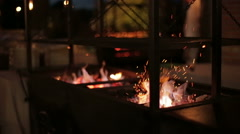 Coals burning in the brazier for barbecue Stock Footage