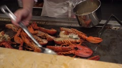 A chief cook lobster in buffet,Canton,China Stock Footage