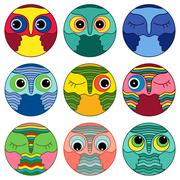 Nine amusing owl faces in a circle Stock Illustration