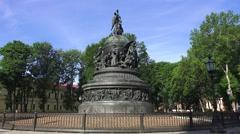 The Millennium of Russia Monument, Novgorod Kremlin, Veliky Novgorod, Russia. Stock Footage