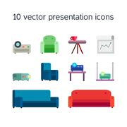 Presentation icons with projector and comfortable seats Stock Illustration