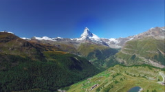 4K Matterhorn Cervin drone shot on a summer day in the swiss alps Stock Footage