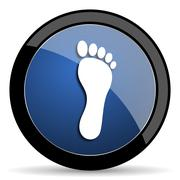 foot blue circle glossy web icon on white background, round button for intern - stock illustration