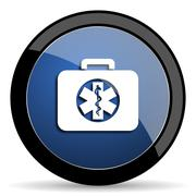 Rescue kit blue circle glossy web icon on white background, round button for  Stock Illustration