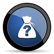 riddle blue circle glossy web icon on white background, round button for inte - stock illustration