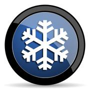 snow blue circle glossy web icon on white background, round button for intern - stock illustration