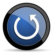 rotate blue circle glossy web icon on white background, round button for inte - stock illustration
