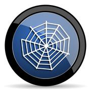 spider web blue circle glossy web icon on white background, round button for  - stock illustration