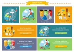 Electrical, Plumbing Work, Mowing Lawn and Garbage Stock Illustration