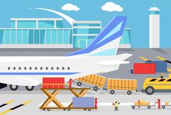 Stock Illustration of Loading Freight Containers in a Cargo Plane