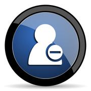 Remove contact blue circle glossy web icon on white background, round button  Stock Illustration