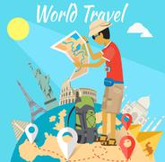 Concept of the World Adventure Travel - stock illustration