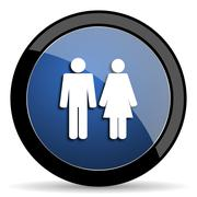 Couple blue circle glossy web icon on white background, round button for inte Stock Illustration
