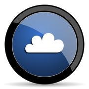 Cloud blue circle glossy web icon on white background, round button for inter Stock Illustration