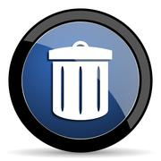 Recycle blue circle glossy web icon on white background, round button for int Stock Illustration