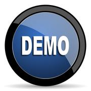Demo blue circle glossy web icon on white background, round button for intern Stock Illustration
