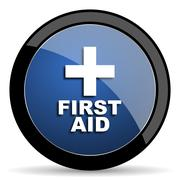 First aid blue circle glossy web icon on white background, round button for i Stock Illustration