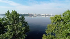 Panorama of the Dnieper river Stock Footage