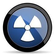 Radiation blue circle glossy web icon on white background, round button for i Stock Illustration