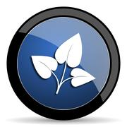 Leaf blue circle glossy web icon on white background, round button for intern Stock Illustration