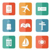 Travel icons - flat vector Stock Illustration